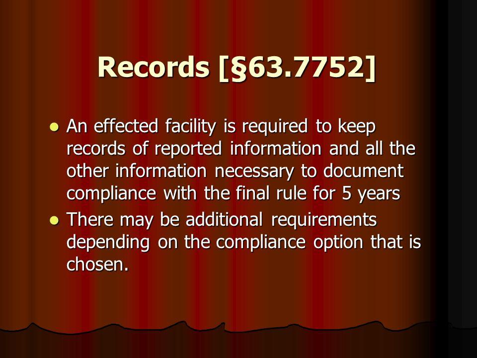 Records [§63.7752]